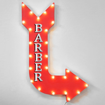 """36"""" BARBER Curved Arrow Sign Light Up Metal Marquee Vintage Cafe Hair Sa... - $155.93+"""