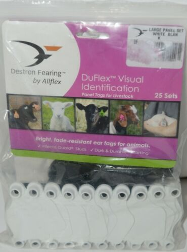 Destron Fearing DuFlex Visual ID Livestock Panel Tags Large White Blank 25 Sets