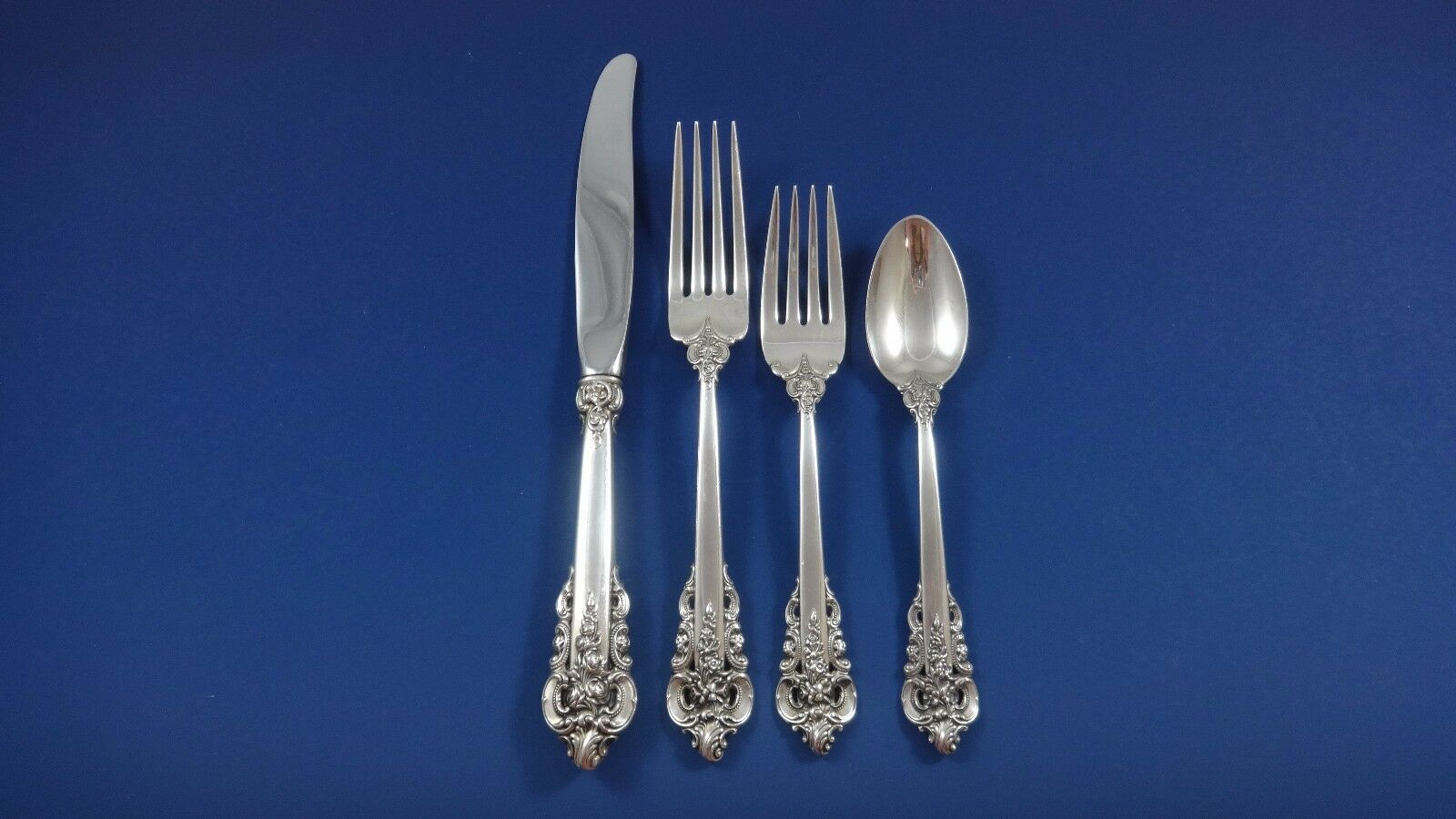 Grande Baroque by Wallace Sterling Silver Flatware Set For 8 Service 58 Pieces