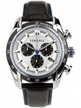 Versace VDB010014 V-Ray Stainless Steel with Black Leather Band Men's Watch - $2,586.31