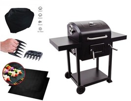 Steel Charcoal Grill Outdoor Patio Backyard Cooking Mat Cover Claws BBQ ... - $314.78