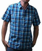 LRG Mens Interstate Short Sleeve Purple or Turquoise Woven Button Up Down Shirt image 4