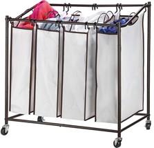 4 bag laundry hamper with wheels rolling laundry cart Heavy duty Laundry... - $80.99