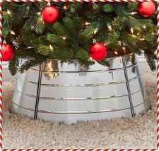 Decorative Galvanized Metal Christmas Tree Collar Skirt Ring Cover Holid... - $24.99