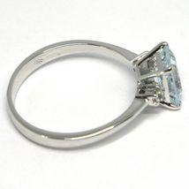 18K WHITE GOLD BAND RING AQUAMARINE 0.80 EMERALD CUT & DIAMONDS, MADE IN ITALY  image 2