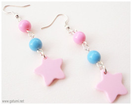 Kawaii Star Earrings, Pastel Pink and Blue, Very Long, Silver Plated - F... - $6.00