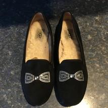 Ugg Black Alloway Swarovski Crystal Bow Flat/Slipper S/N 1004768 Women Size 8.5 - $55.00
