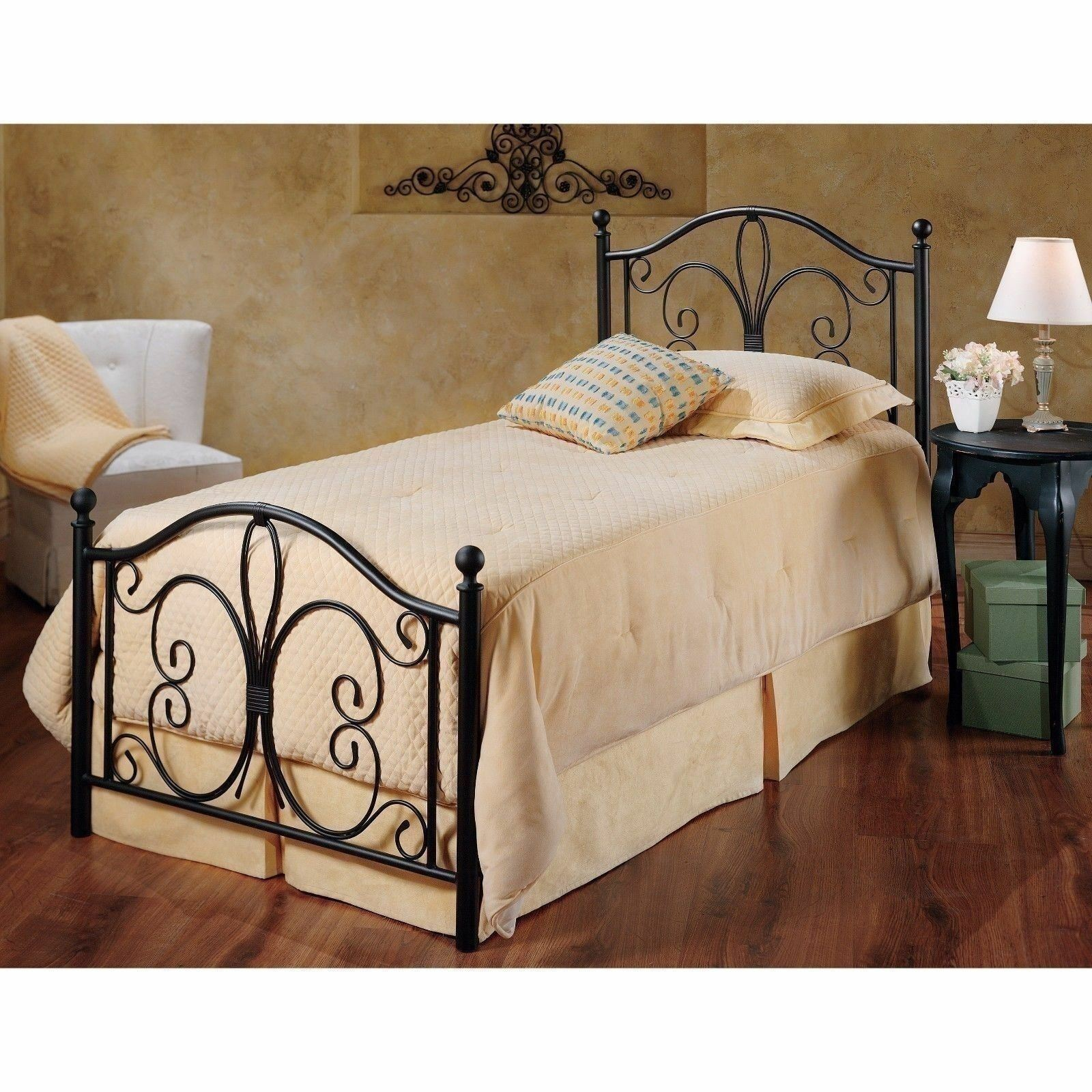 Brown Twin Full Queen King Metal Bed Frame Scroll