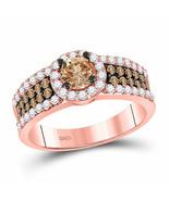 14kt Rose Gold Round Brown Diamond Bridal Wedding Engagement Ring 1-1/4 - £1,288.64 GBP