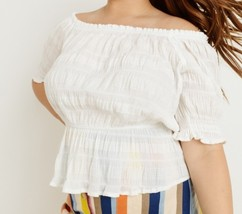 Plus Off Shoulder Top, Cotton Stretch Top, Off Shoulder Plus Size, Ivory image 2