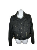 Biscote Biker Gray Wool Jacket Paris Size L Coat Button - $39.60