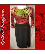 WHBM White House Black Market 10 Black Lined Long Front Slit Skirt Silve... - $29.69