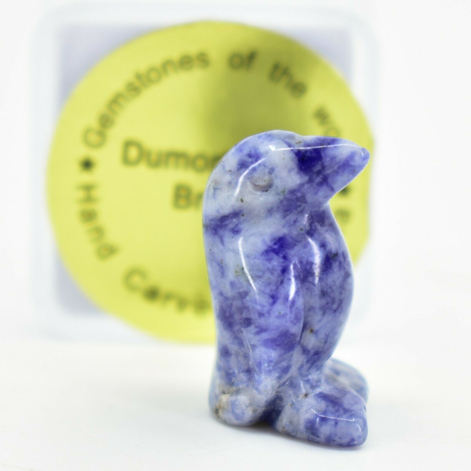 Dumortierite Gemstone Tiny Miniature Penguin Hand Carved Stone Figurine