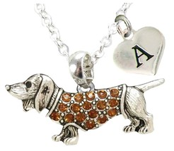 Custom Dachshund Weenie Dog Silver Necklace Jewelry Choose Initial or Family - $14.99