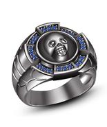 Mens Skull Wedding Anniversary Pinky Ring 14k Black Gold Finish 925 Soli... - $94.29