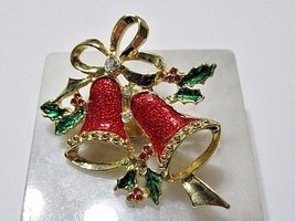 VINTAGE CHRISTMAS PIN ENAMEL RED GREEN HOLLY DOUBLE BELLS CRYSTAL LAPEL ... - $16.00