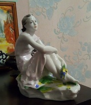 "1950 USSR Russian Art Porcelain figurine ""Girl with a bouquet on vacatio... - $3,000.00"