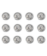 12 Pairs CAFLON Ear Piercing Clear CZ Steel Stud Earrings Bezel Setting - $27.98