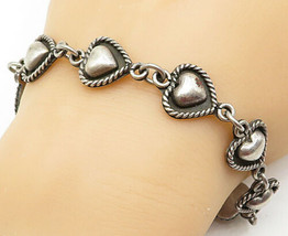 MEXICO 925 Silver - Vintage Love Heart Twist Linked Chain Bracelet - B5510 - $71.25