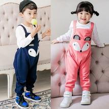 Kids Cute Fox Cartoon Pattern Overalls Toddler Girl Boy Romper Jumpsuit ... - $25.70