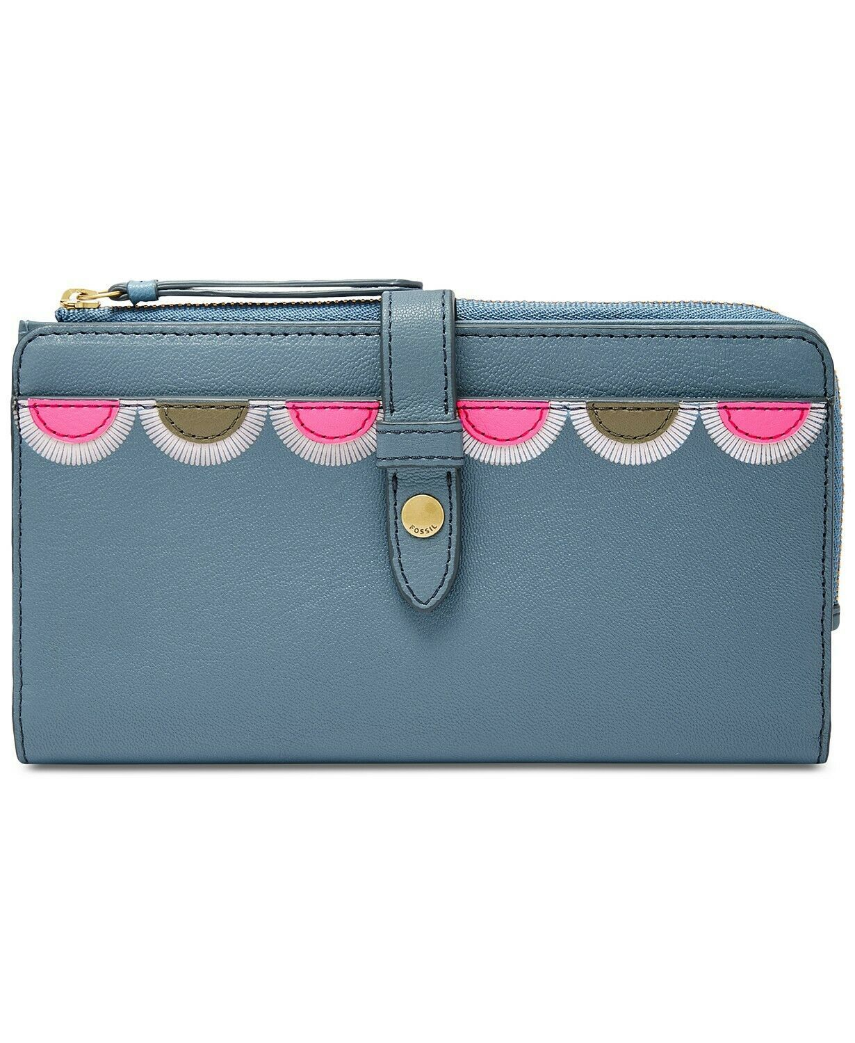 Primary image for Fossil Fiona Leather Tab Wallet Clutch, Faded Indigo $75