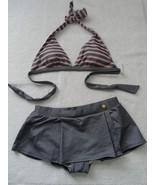 Tommy Hilfiger Blue Stripe Halter Bikini Top L & Bottom M-$140 - $62.39