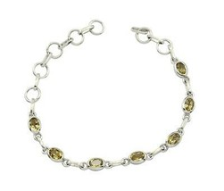 delicate Citrine 925 Sterling Silver Yellow Bracelet supply L-7.5 US - $19.99