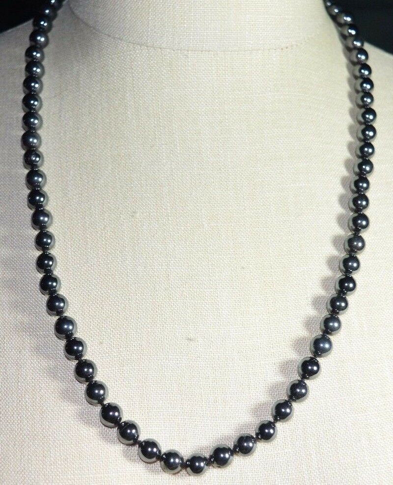 Primary image for Vintage LUCORAL Black Hematite Bead Beaded Heavy Necklace