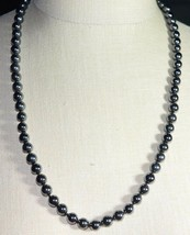 Vintage LUCORAL Black Hematite Bead Beaded Heavy Necklace - $99.00