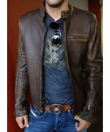 New Men's Genuine Leather Jacket Vintage Biker Racer Motorcycle Cafe All... - $150.00