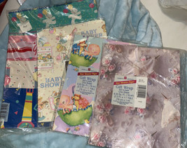 Lot Vintage American Greetings BABY SHOWER INFANT GIFT WRAPPING PAPER - $16.53