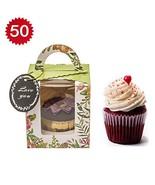 50 Pcs Clear Bakery Pastry Food Grade Flower Garden Design Cardboard Sin... - $13.61