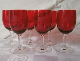 Set 6 Rare Vintage Red Bowl Wine Stem Etched Floral Basket - $46.50