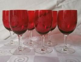 Set 6 Rare Vintage Red Bowl Wine Stem Etched Floral Basket - $46.50
