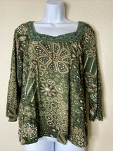 Chico's Women Size 3 Green Floral Abstract Pattern Crochet Neck Rayon/Sp... - $16.39