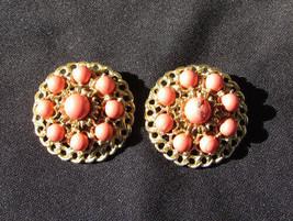 Kramer clip earrings orange coral beads gold tone setting 1 1/4 inches - $9.50