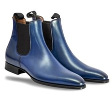 Handmade Men's Navy Blue High Ankle Chelsea Leather Boots image 4