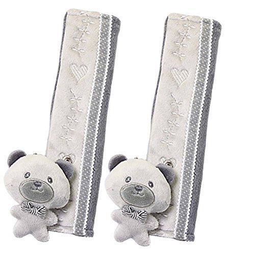 a Pair of Baby Kid Car Seat Strap Cover Toddler Infant Stroller Strap Cover Gray