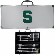 michigan state spartans 8 pc tailgater stainless steel bbq set with meta... - $126.34