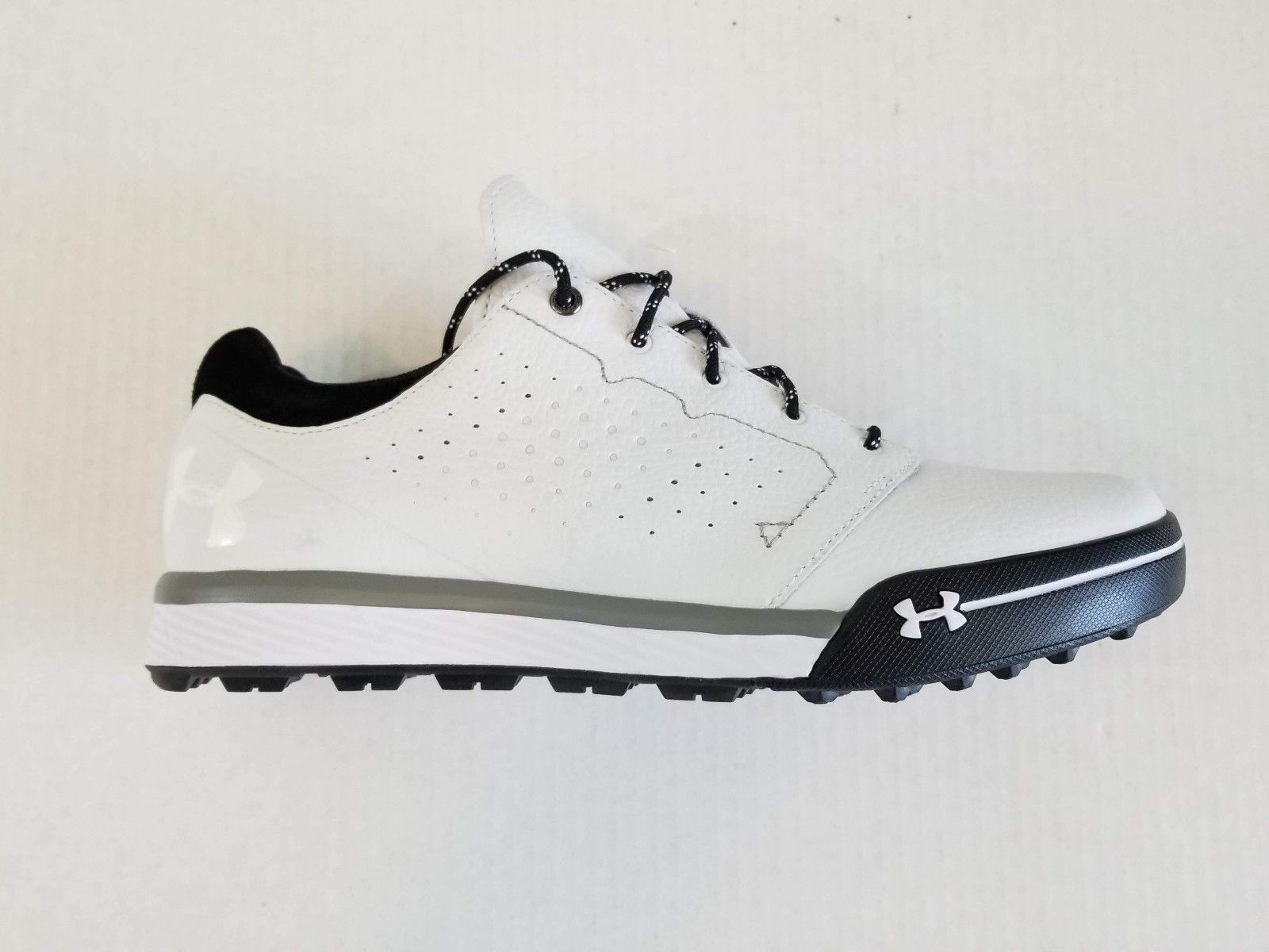 finest selection 45f38 bafb8 Under Armour Tempo Hybrid Mens Golf Shoes 1270207160 White Black Black Size  9
