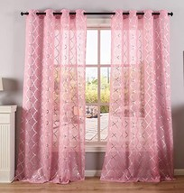 Kotile Pink Sheer Curtains 84 Inches Long for Girls Room - Grommet Voile... - $28.07