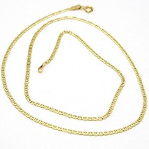 18K YELLOW GOLD CHAIN FLAT NAVY MARINER CROSSED WORKED LINK 2 MM, 18 INCHES image 1