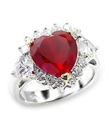 Heart Cut Red CZ Cocktail Ring July Birthstone .925 Sterling Silver - $30.00