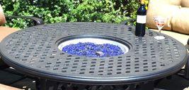 Fire Pit Table Set Elisabeth Propane 5pc Patio Furniture Outdoor Dining Aluminum image 4