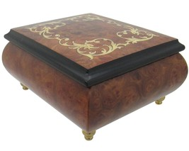 "Italian Music Box, 5"", Elm Wood with Arabesque Inlay - $199.95"