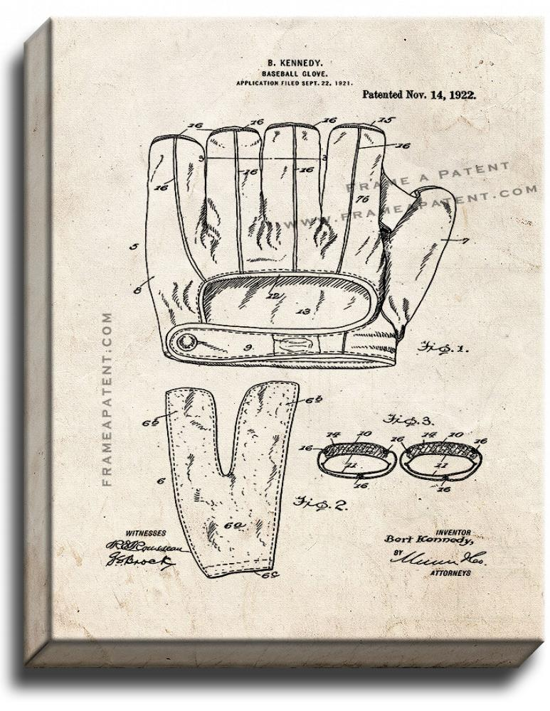 Primary image for Baseball Glove Patent Print Old Look on Canvas