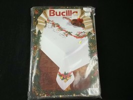 Bucilla Stamped Cross Stitch Tablecloth 12 Days Of Christmas 1993 52 x 70 - $69.25