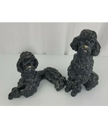 Universal Statuary Corp BLACK French Poodle Dog Statues Sitting & Lying ... - $59.39