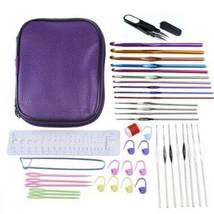 Portable 22Pcs Crochet Hook Kit Set Knitting Hooks Needles Portable Leat... - $21.66 CAD