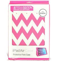 Accellorize Protective Folio Case For iPad Air Pink White Chevron - $10.84